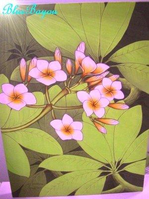 画像1: ハンドペイント 手書きアート 絵画 プルメリア