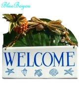 ハンドペイント ハワイアンウッドサインプレート ウェルカム バナナパッチ工房 カウアイ島